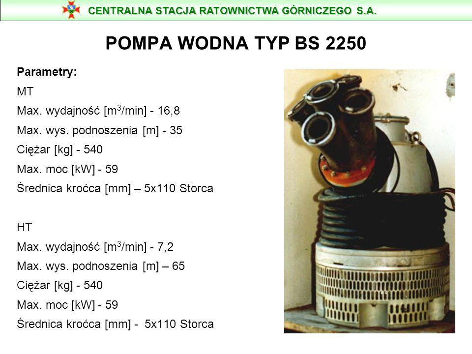 POMPA WODNA TYP BS 2250 Parametry: MT Max. wydajność [m3/min] - 16,8